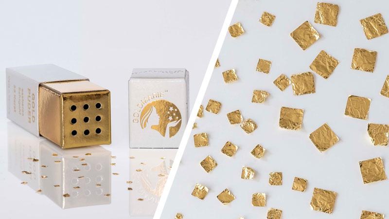 Gold Quadrate im Streuer